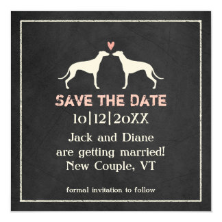 Greyhounds Wedding Save the Date Chalkboard Style Card