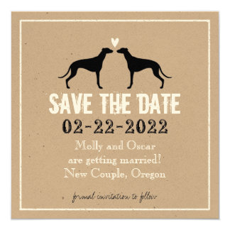 Greyhounds Wedding Save the Date 5.25x5.25 Square Paper Invitation Card