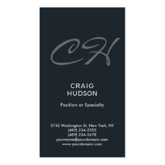 Greyish Blue Monogram Professional Business Card