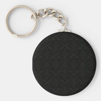 Greyish Damask pattern on dark background Basic Round Button Keychain