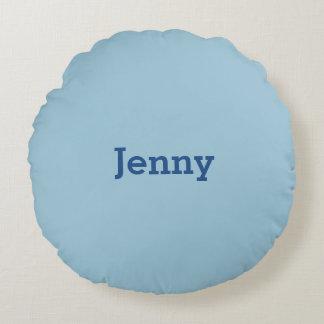 Greyish Green Blue Customizable Round Pillow