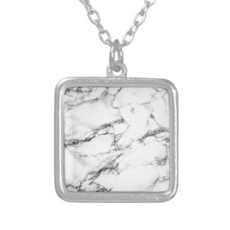 Greyish White Marble Silver Plated Necklace
