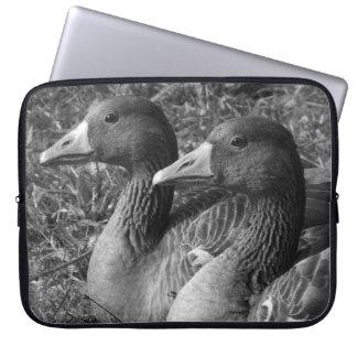Greylag Geese B W Computer Sleeve