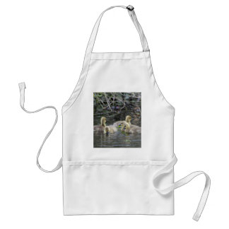 Greylag geese goslings with plants on a lake. adult apron