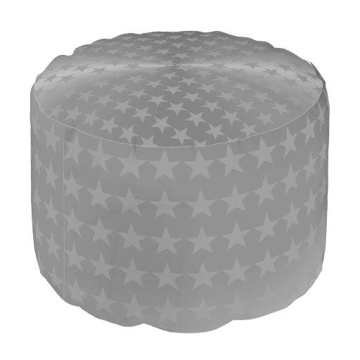 Greymetallic stars pattern round pouf pouf zazzle - Design pouf ...