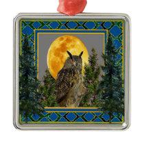 GREY'S & GREENS FULL MOON WILDERNESS OWL METAL ORNAMENT