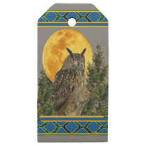 GREY'S & GREENS FULL MOON WILDERNESS OWL WOODEN GIFT TAGS
