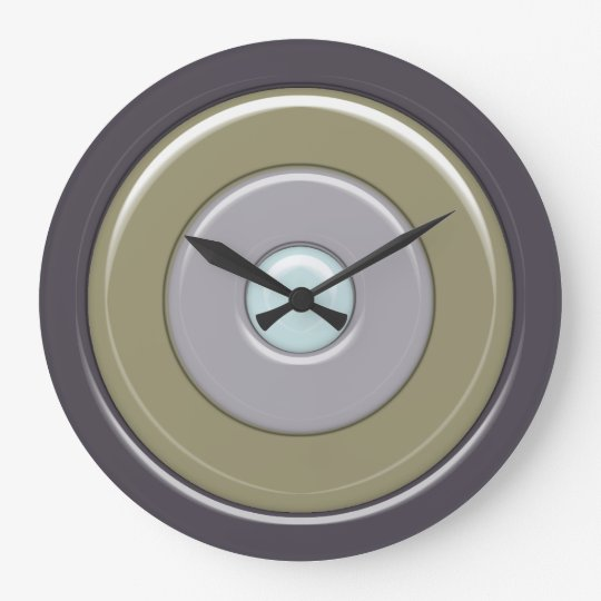 Greys & Olive Bullseye no numbers Large Clock
