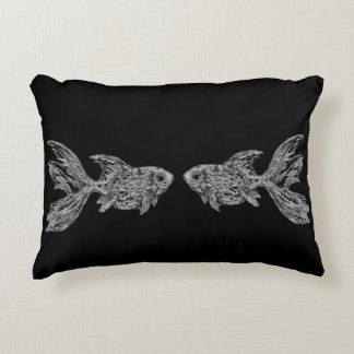 Greyscale Goldfish Pair Custom Throw Pillow