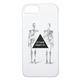 Greyscale human skeleton - 'live your life' iPhone 8/7 case