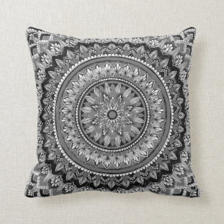 Greyscale mandala cushion