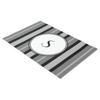 Greyscale Monogram Black Gray Contemporary Stripes Doormat