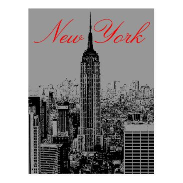 USA Themed Greyscale New York City Post Card