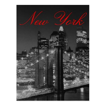 USA Themed Greyscale New York Script Post Card
