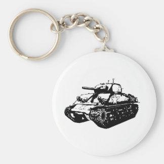 Greyscale Sherman Tank Illustration on Keyring