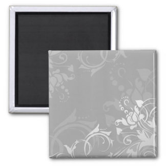 greyscale swirly modern floral design 2 inch square magnet