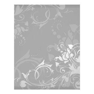 greyscale swirly modern floral design letterhead