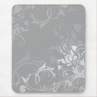 greyscale swirly modern floral design mouse pad