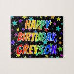 "[ Thumbnail: ""Greyson"" First Name, Fun ""Happy Birthday"" Jigsaw Puzzle ]"