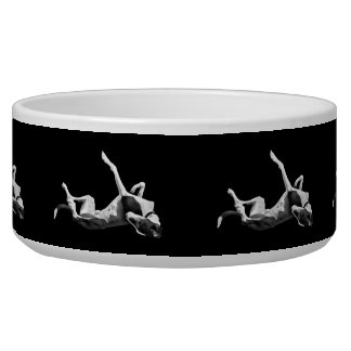 Greyt Greyhound Roaching Pet Bowl Black background