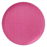 GRID12 HOT RICH CANDY PINK GRID GIRLY PATTERN TEMP DINNER PLATE
