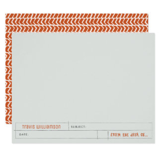 Grid And Bear It Personal Stationery Card, Orange Card
