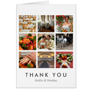 Grid collage 9 photos custom memories thank you card
