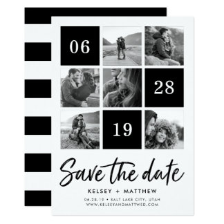 Grid Collage | Black and White Photo Save the Date Card