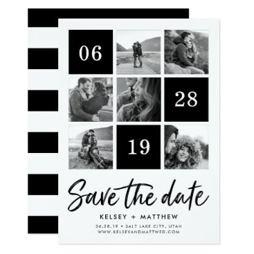 RedwoodAndVine Grid Collage | Black and White Photo Save the Date Card