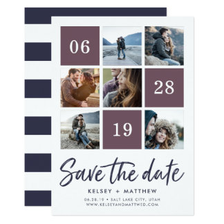 Grid Collage   Photo Save the Date Card