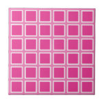 Grid Hot Pink and White Ceramic Tile