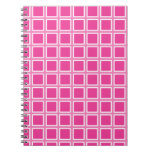 Grid Hot Pink and White Spiral Note Book