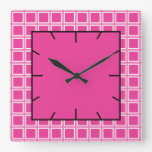 Grid Hot Pink and White Square Wallclock