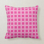 Grid Hot Pink and White Throw Pillows