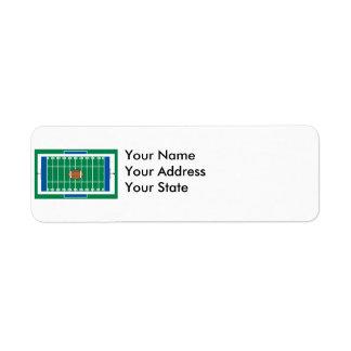 grid iron football field graphic return address label