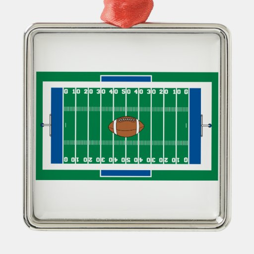 grid iron football field graphic christmas ornament
