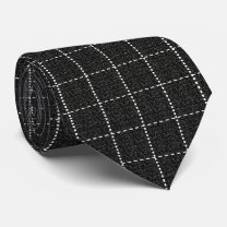 Grid Line Stripe Black and White Neck Tie