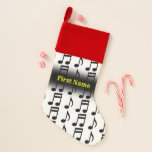 [ Thumbnail: Grid of Musical Notes W/ Custom Name Christmas Stocking ]