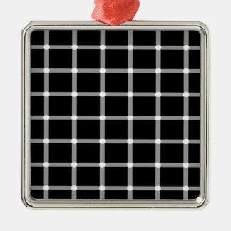 Grid Optical Illusion Design Metal Ornament