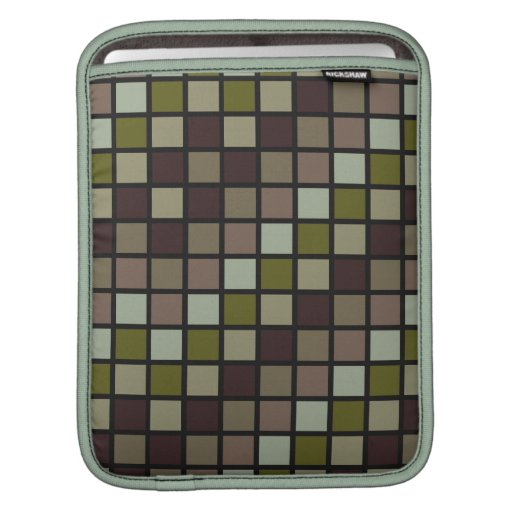 Grid Rock in Brown and Green Sleeve For iPads