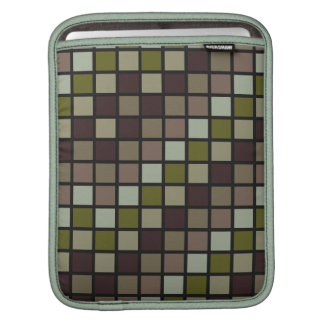 Grid Rock in Brown and Green Sleeves For iPads