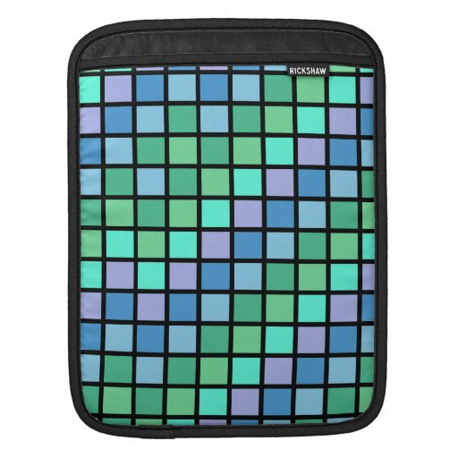 Grid Rock in Lavendar Blue and Green Sleeves For iPads