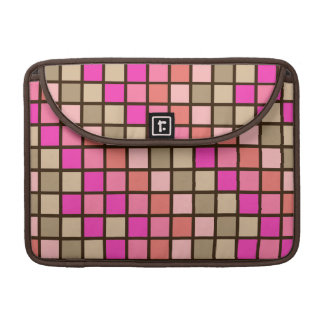 Grid Rock in Pink Green and Brown Sleeves For MacBook Pro