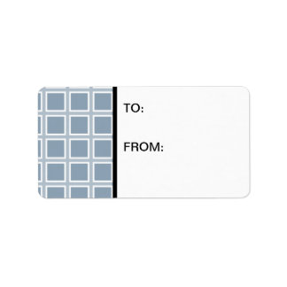 Grid Slate and White Address Label