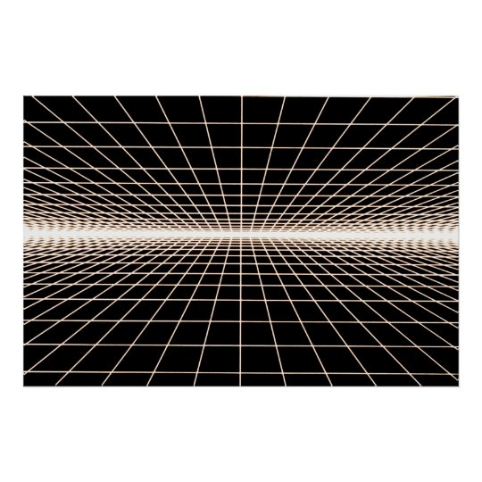 Grid To Eternity - Glow White Grid Poster