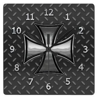 Gridiron Maltese Square Wall Clock