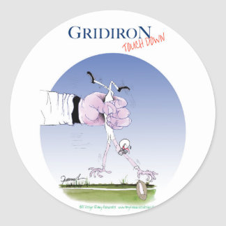 Gridiron -  touch down, tony fernandes classic round sticker