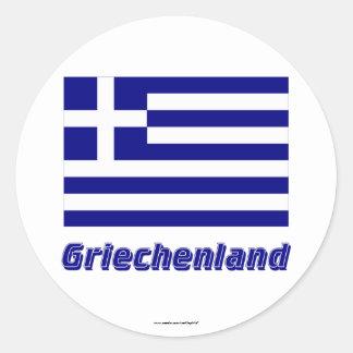 Griechenland Flagge mit Namen Classic Round Sticker