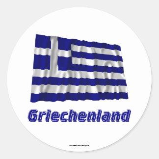 Griechenland Fliegende Flagge mit Namen Round Sticker