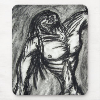 Grief and Agony charcoal drawing grunge emo goth Mouse Pad